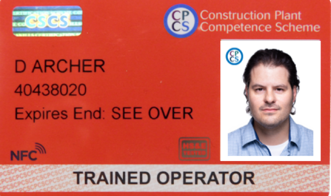 red trained operator card